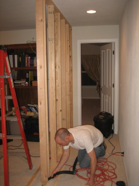 framing of the wall that gave us a hallway to the master bedroom...